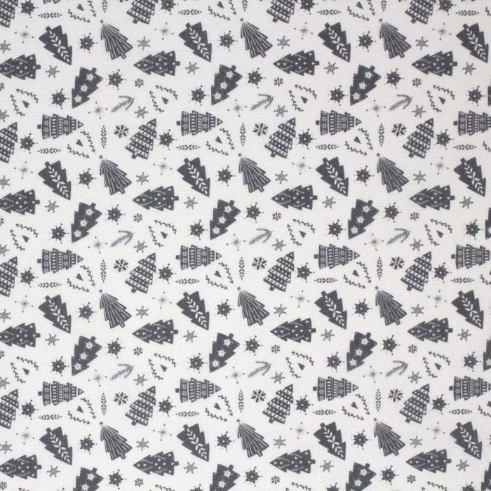 Grey Christmas fabric featuring trees.