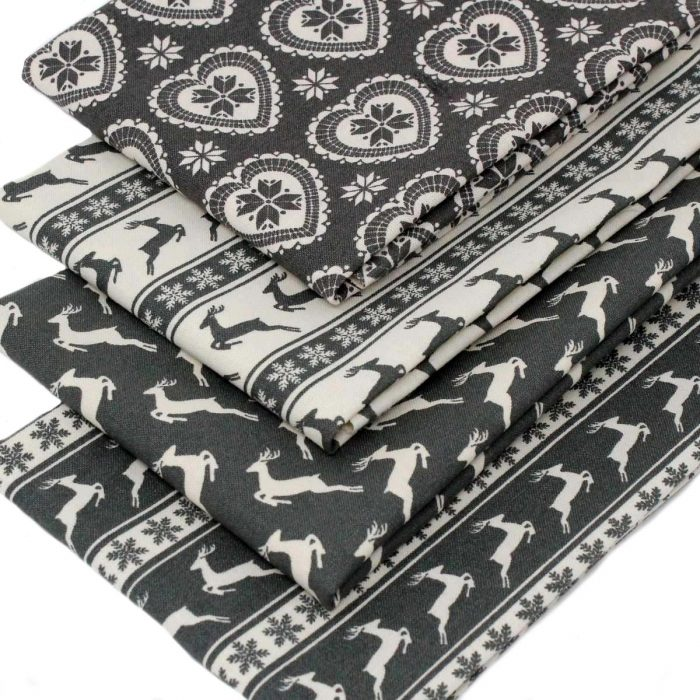 Scandi grey Christmas fabric.
