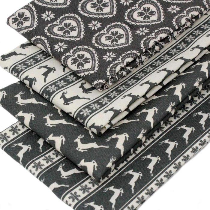 Scandi grey Christmas fabric.
