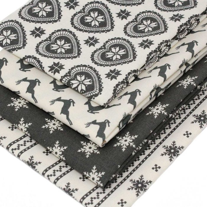 Christmas fat quarter pack of Scandi fabrics in grey.