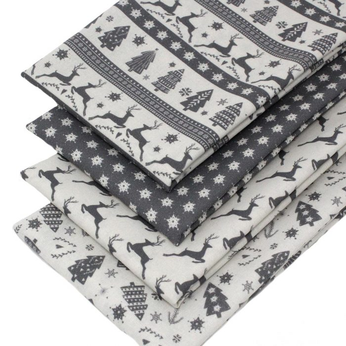 Scandi Christmas fabrics in grey.