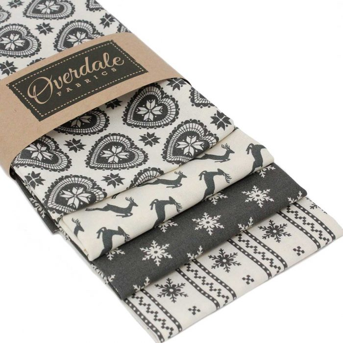 Grey Christmas fat quarter pack of Scandi style fabrics.