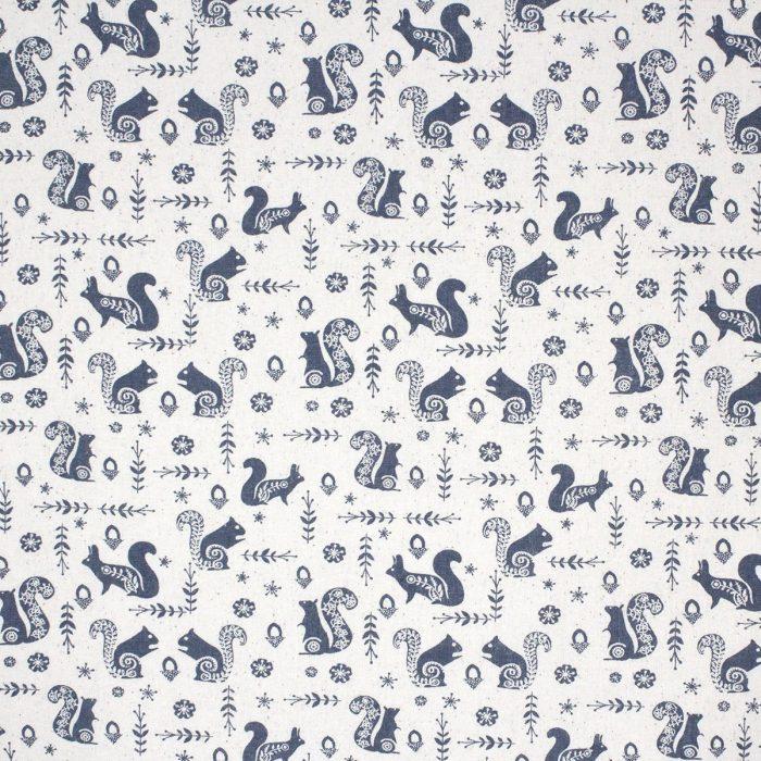 Grey squirrel Christmas fabric.