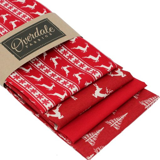 Christmas fat quarters with a Scandi look.