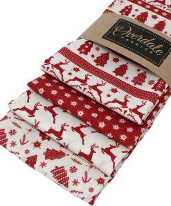 Scandi fat quarter Christmas fabrics in red.
