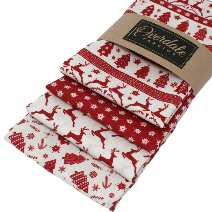 Scandi fat quarter Christmas fabrics in red.