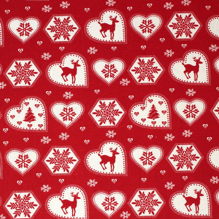 Scandi Christmas red hearts and reindeer.