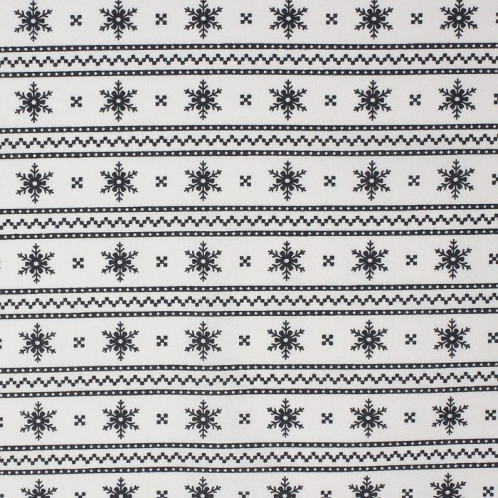 Christmas snowflake fabric in a stripe design.
