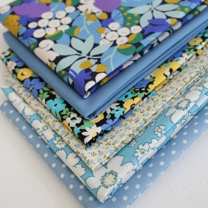 floral fabric in blue and yellow