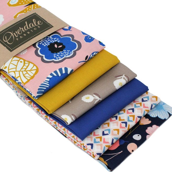 Blue and mustard yellow fat quarter bundle.