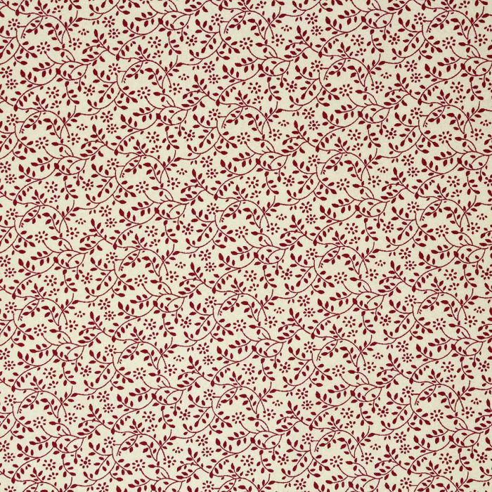 Red leaf pattern on a beige background.
