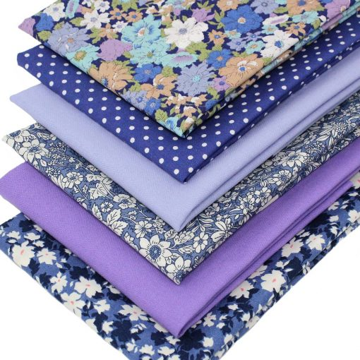 Blue and lilac flower fabrics.