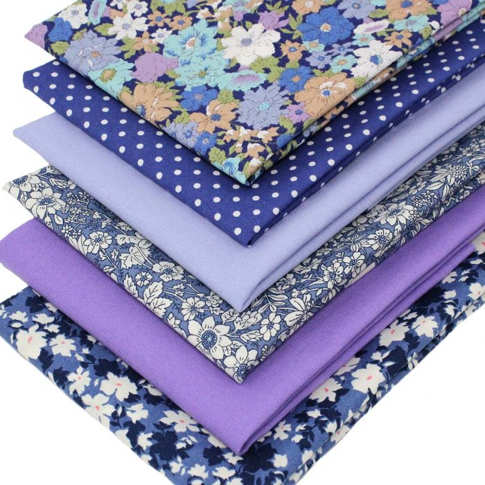 Blue and lilac flower fabrics.