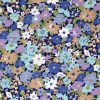 Floral fabric in blue and lilac.