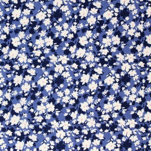 Leaf fabric in shades of blue.