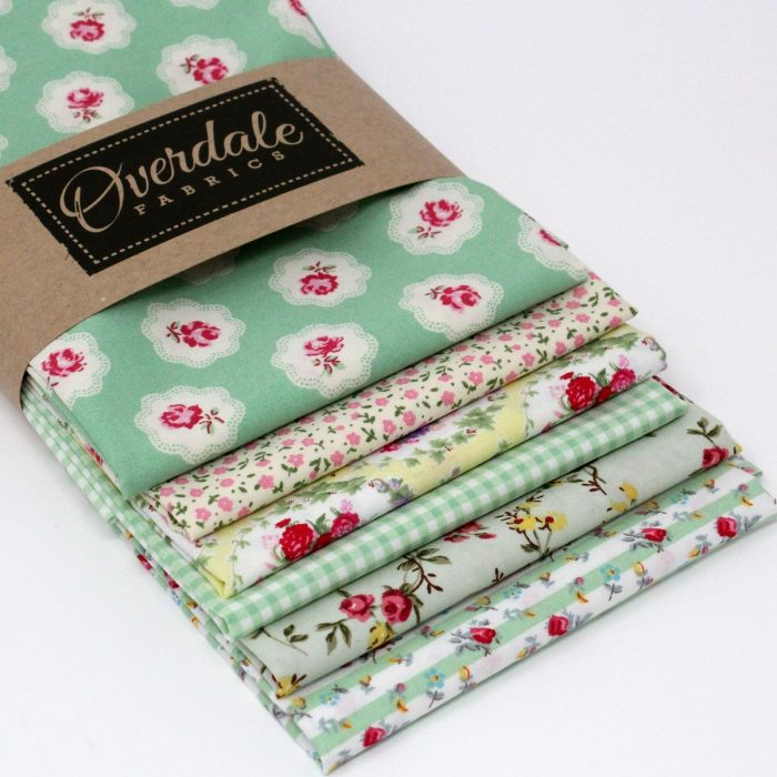Rose Jardin mint green fat quarter pack.