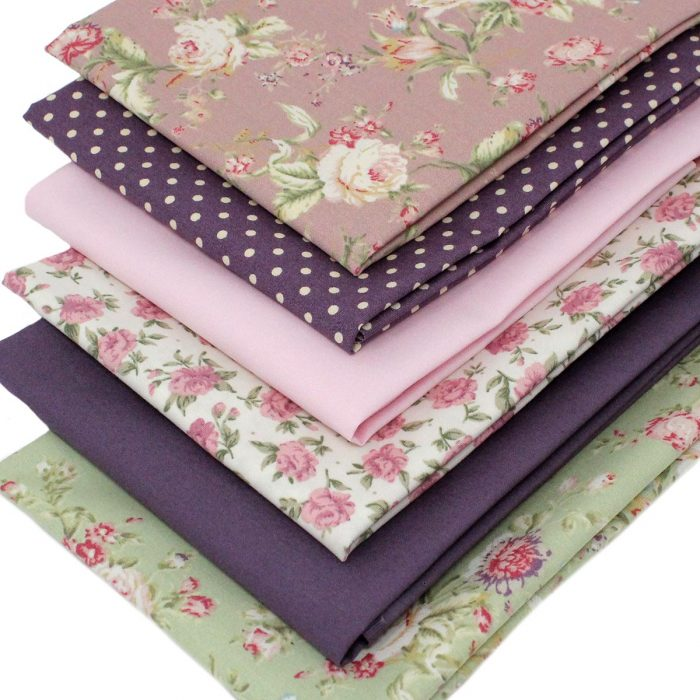 Vintage rose fat quarter fabrics.