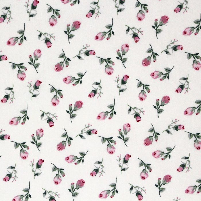 Fabric featuring vintage rose buds in pink.