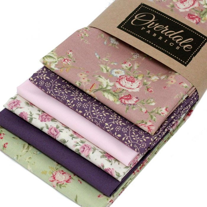 Six fat quarter pack of fabrics with a vintage rose theme.