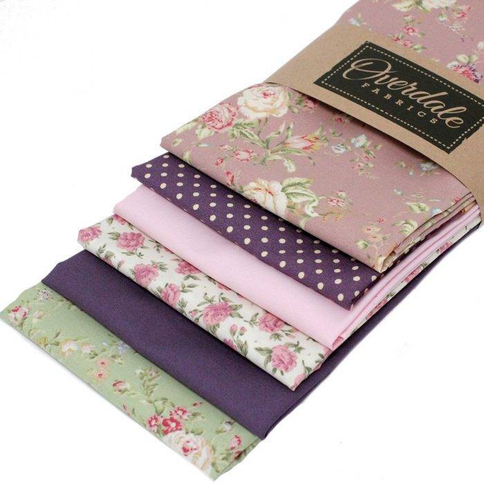 Vintage rose pack of fabrics in pinks, purple and green.