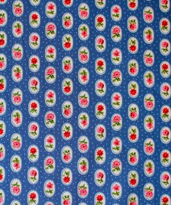 pink rose on blue background fabric