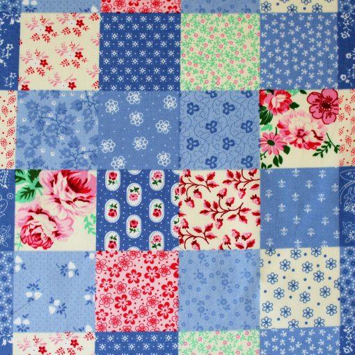 blue patchwork fabric