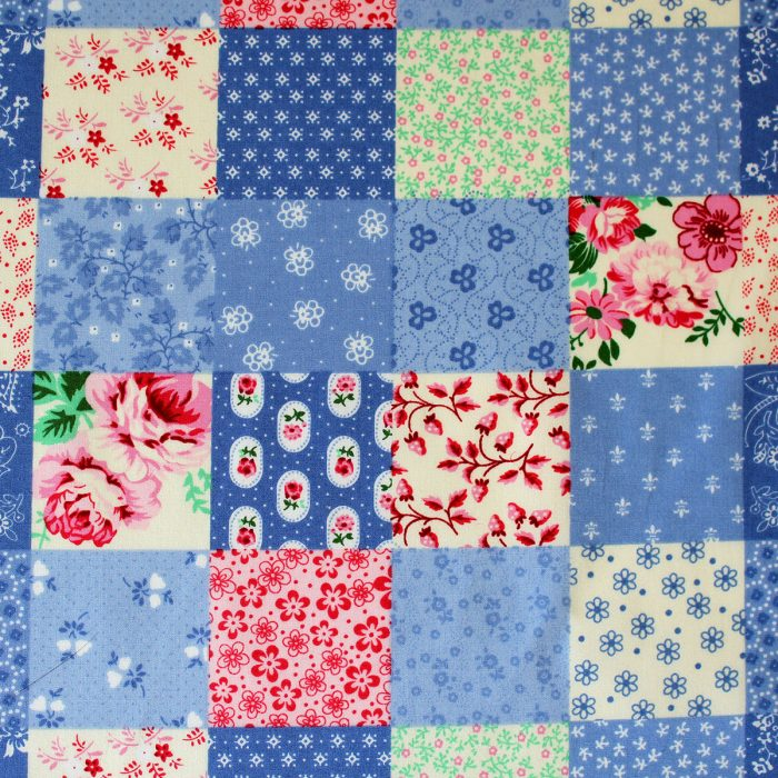 blue patchwork fabric