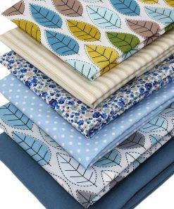 Stitched leaf fat quarter fabrics in blue.
