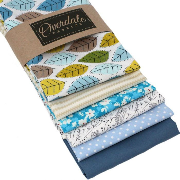 Blue leaf fabrics in a fat quarter pack.