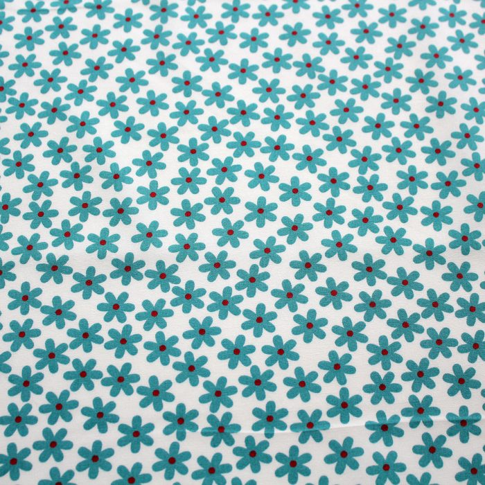 aqua blue daisy fabric