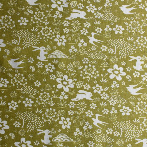 Country fabric print featuring swifts and hares.