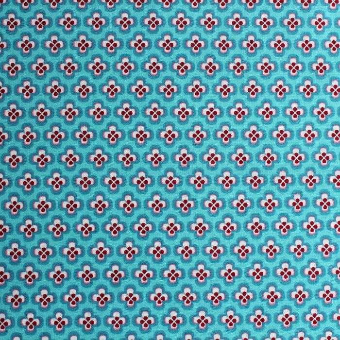 Peacock blue geometric print.