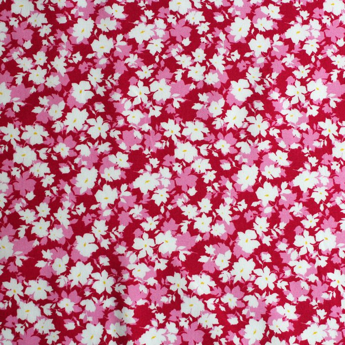 Cerise pink flower and leaf print.