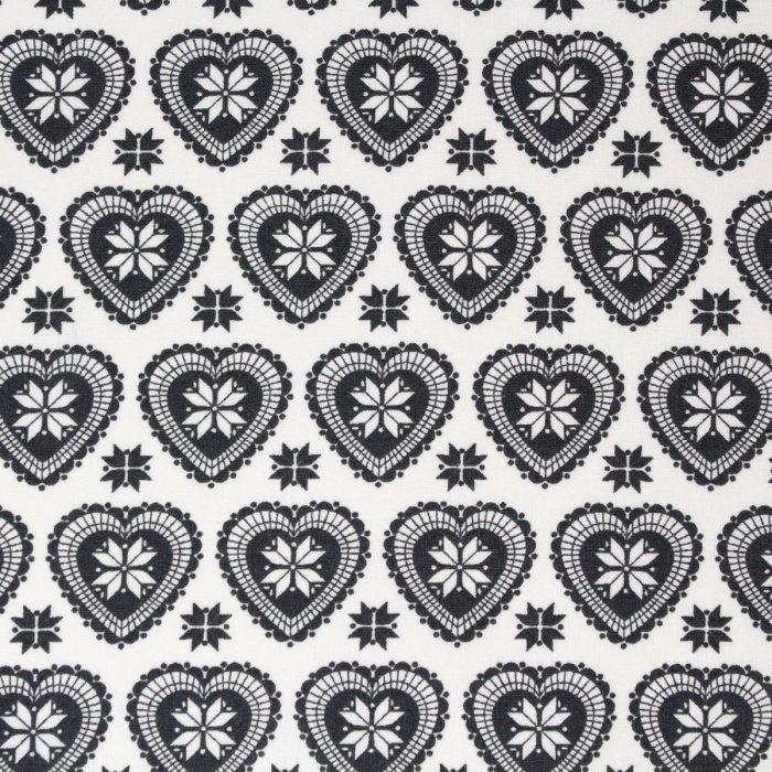 Grey heart Christmas fabric.