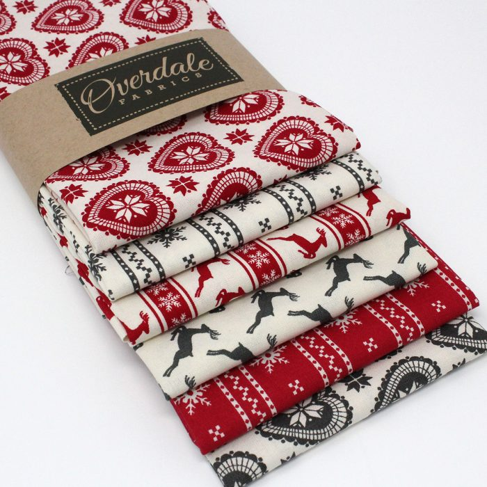 Scandi Christmas fat quarter pack in red and grey.