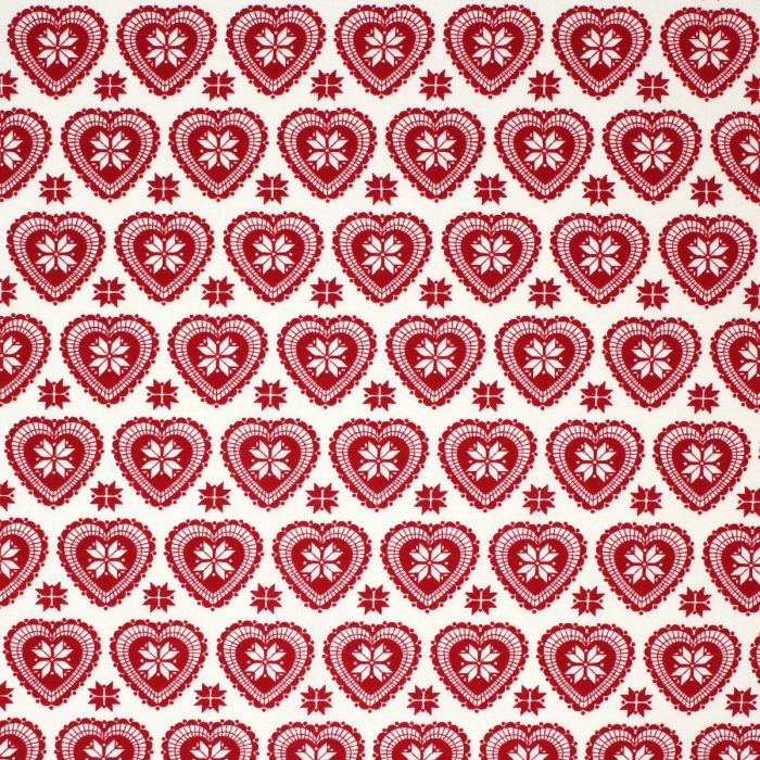 Red heart Xmas fabric with a Scandi look.