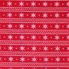 Red snowflake fabric in a stripe.