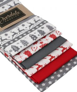 Scandi Christmas fat quarter fabrics in grey and red.