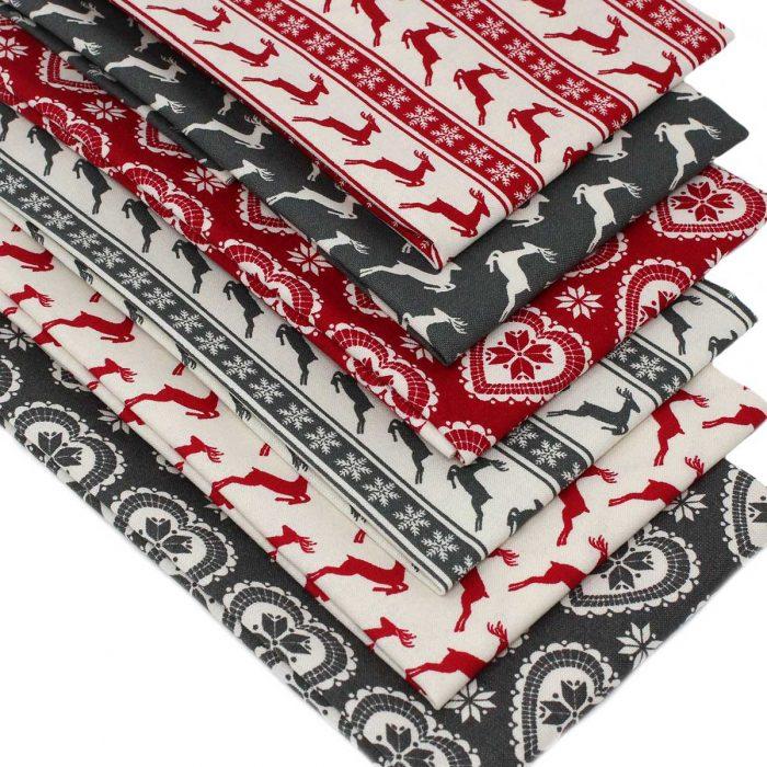 Vintage style Scandi Christmas fabrics.