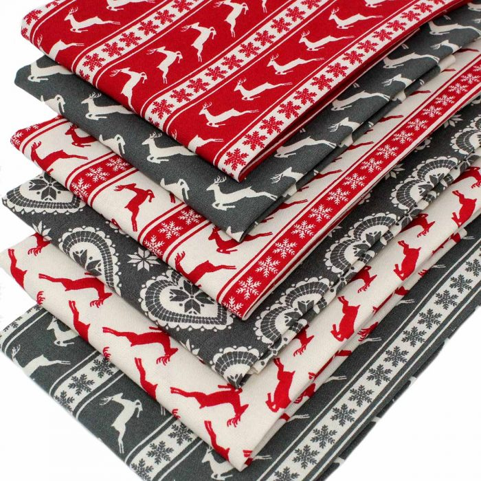 Christmas fat quarters in red and grey.