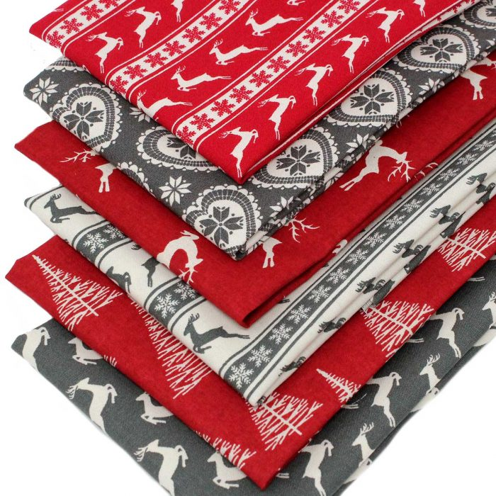 Red and grey Christmas fabrics with a Scandi look.