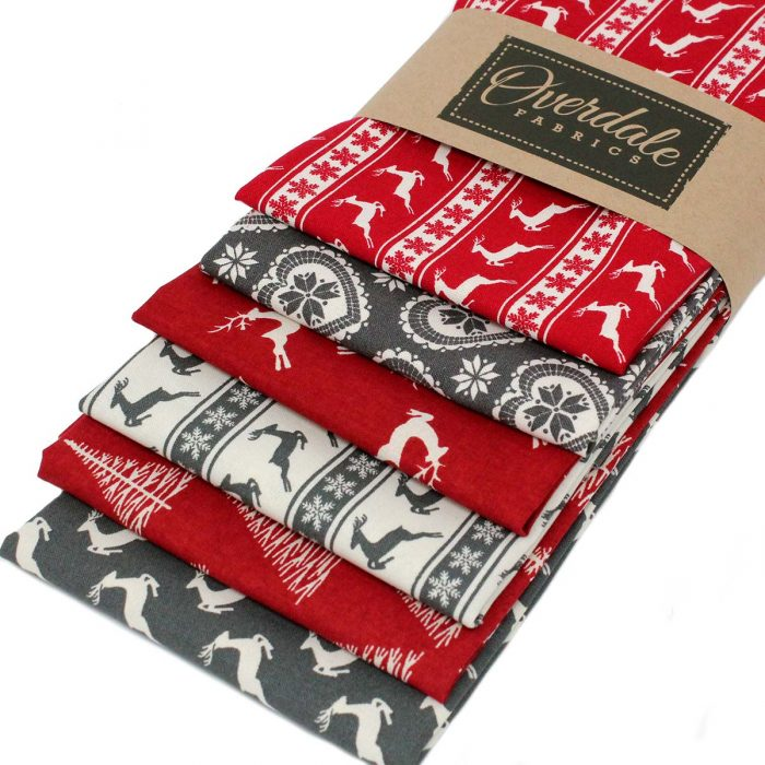 Christmas fat quarter pack in red and grey.
