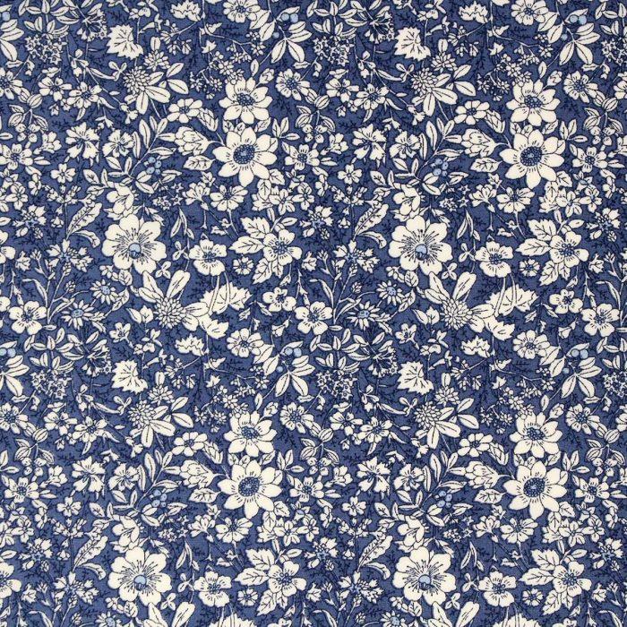 Copen blue floral fabric.