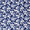 Navy and copen blue floral fabric.