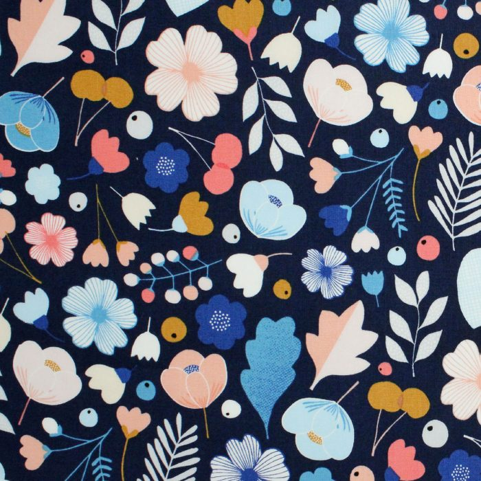 Flowers, fruits and leaves on a navy blue background.
