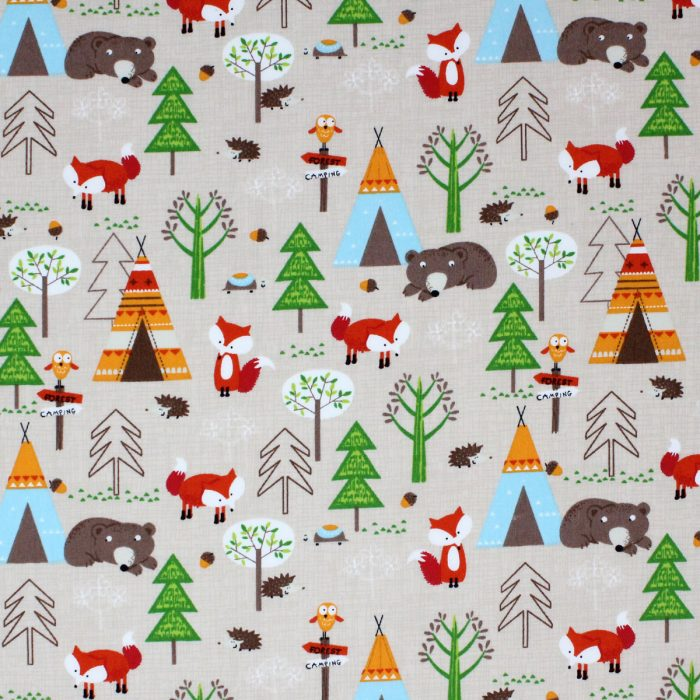 Bear and fox camping in the woods in wigwams.
