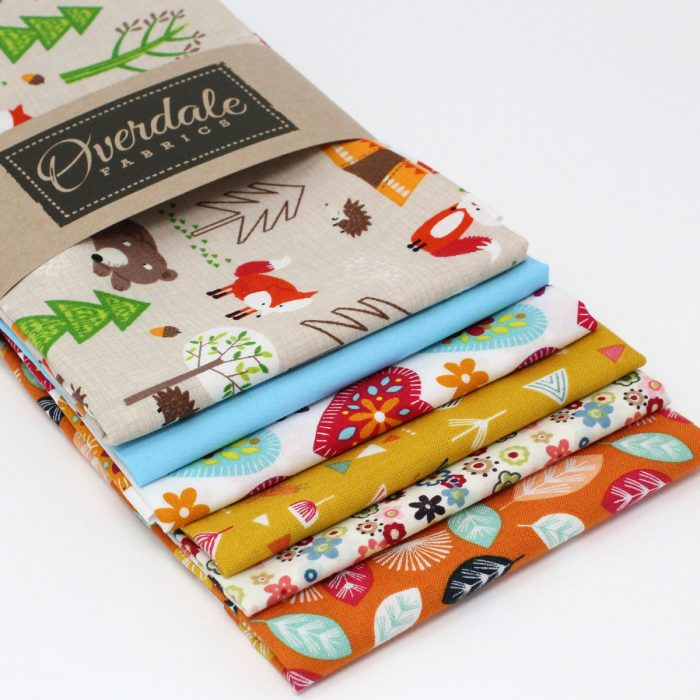 Six fat quarter pack with a camping woodland animal theme.