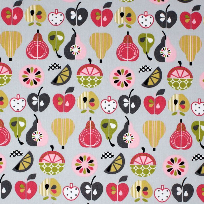 Fruit slices printed fabric in pinks and greys.
