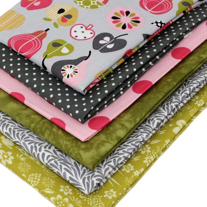 Fun fat quarter pack in green grey and pink.