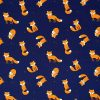 Navy blue fabric with an orange fox.